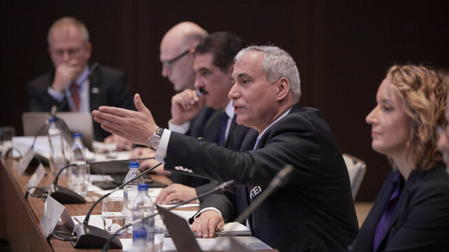FEI Vice President, Ingmar de Vos speaking at The FEI Board Meeting 1, FEI General Assembly 2019 in Moscow (RUS). ©Fei/Gregg