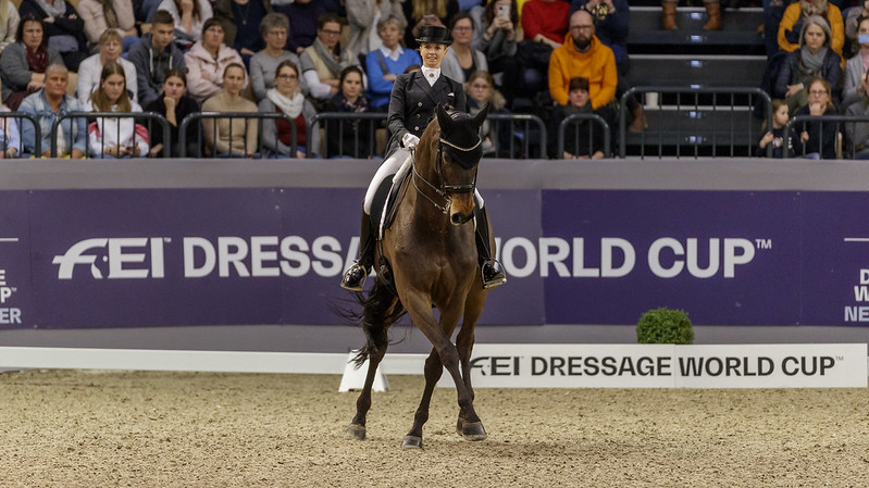 Germany's Jessica von Bredow-Werndl and TSF Dalera BB won today's ninth leg of the FEI Dressage World Cup™ 2019/2020 Western European League on home ground in Neumünster (GER). (FEI/Stefan Lafrentz)