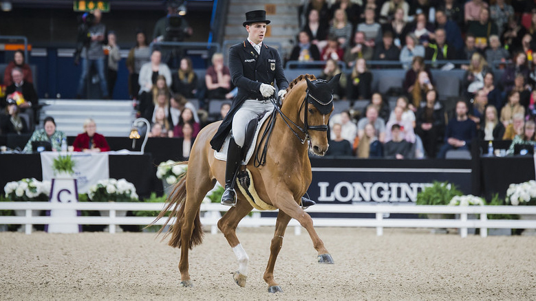 Frederic Wandres (GER) riding Duke of Britain in third place at the FEI Dressage World Cup™ Final 2019-2020, Göteborg (SWE) - Photograph - © FEI /Satu Pirinen