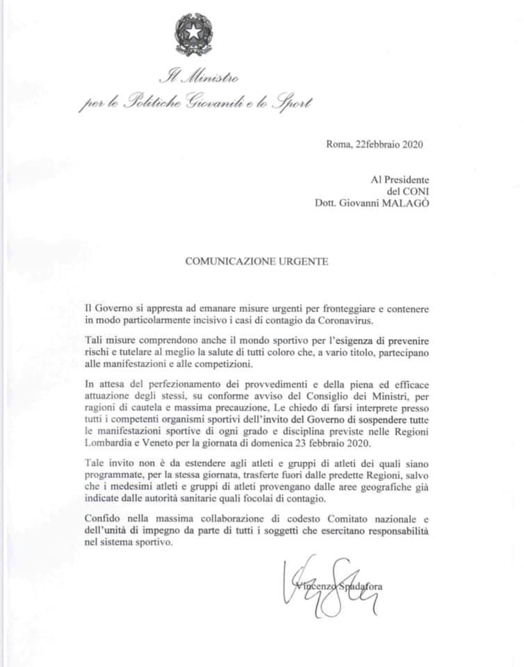 Coronavirus: sospensione delle attività sportive in Lombardia e Veneto - La circolare del Ministero per le Politiche Giovanili e lo Sport