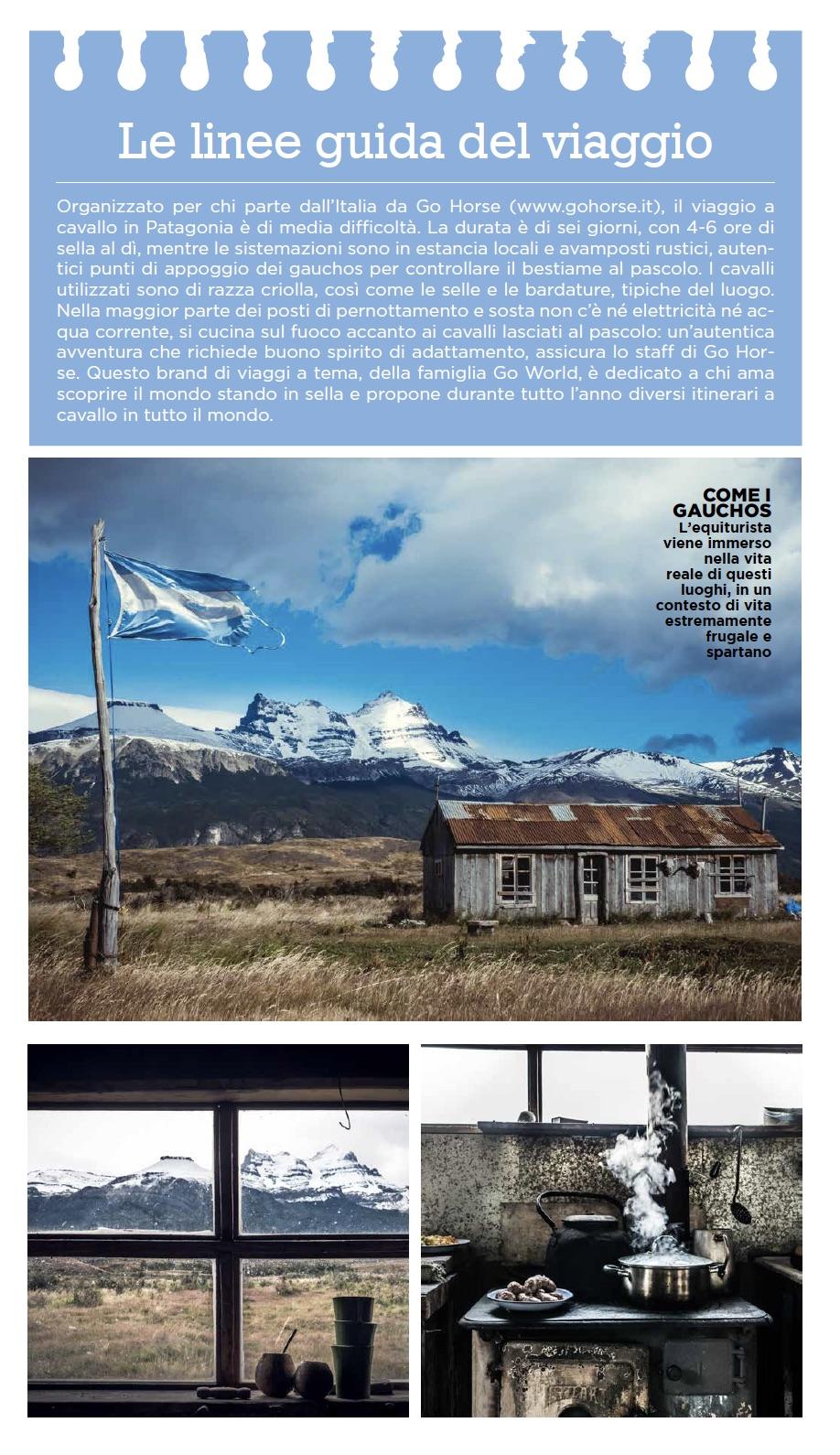 Le linee guida del viaggio in Patagonia - Cavallo Magazine marzo 2020 -