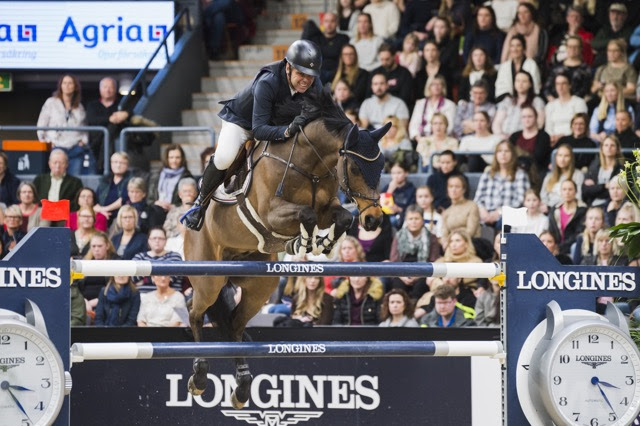 Norway's Geir Gulliksen posted the first World Cup victory of his long and successful career in the thrilling 14th and last qualifier of the Longines FEI Jumping World Cup™ 2019/2020 Western European League (WEL) in Gothenburg, Sweden today riding the brave little VDL Groep Quatro. (FEI/Satu Pirinen)